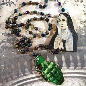 Da Bomb Nun Deconstructed rosary necklace OOAK